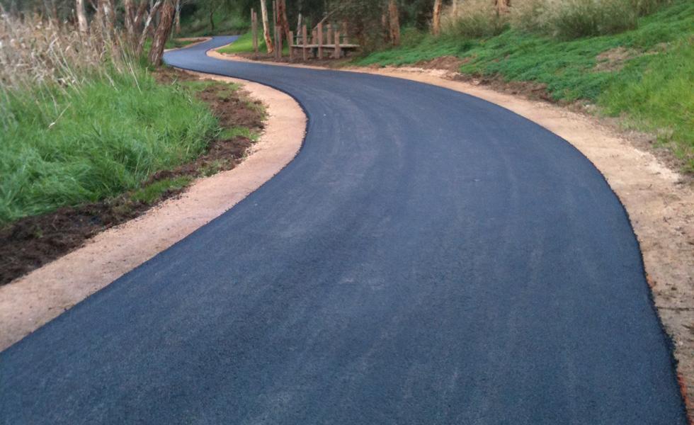 New asphalt bike path