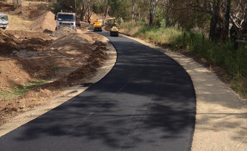 New asphalt bike path under construction