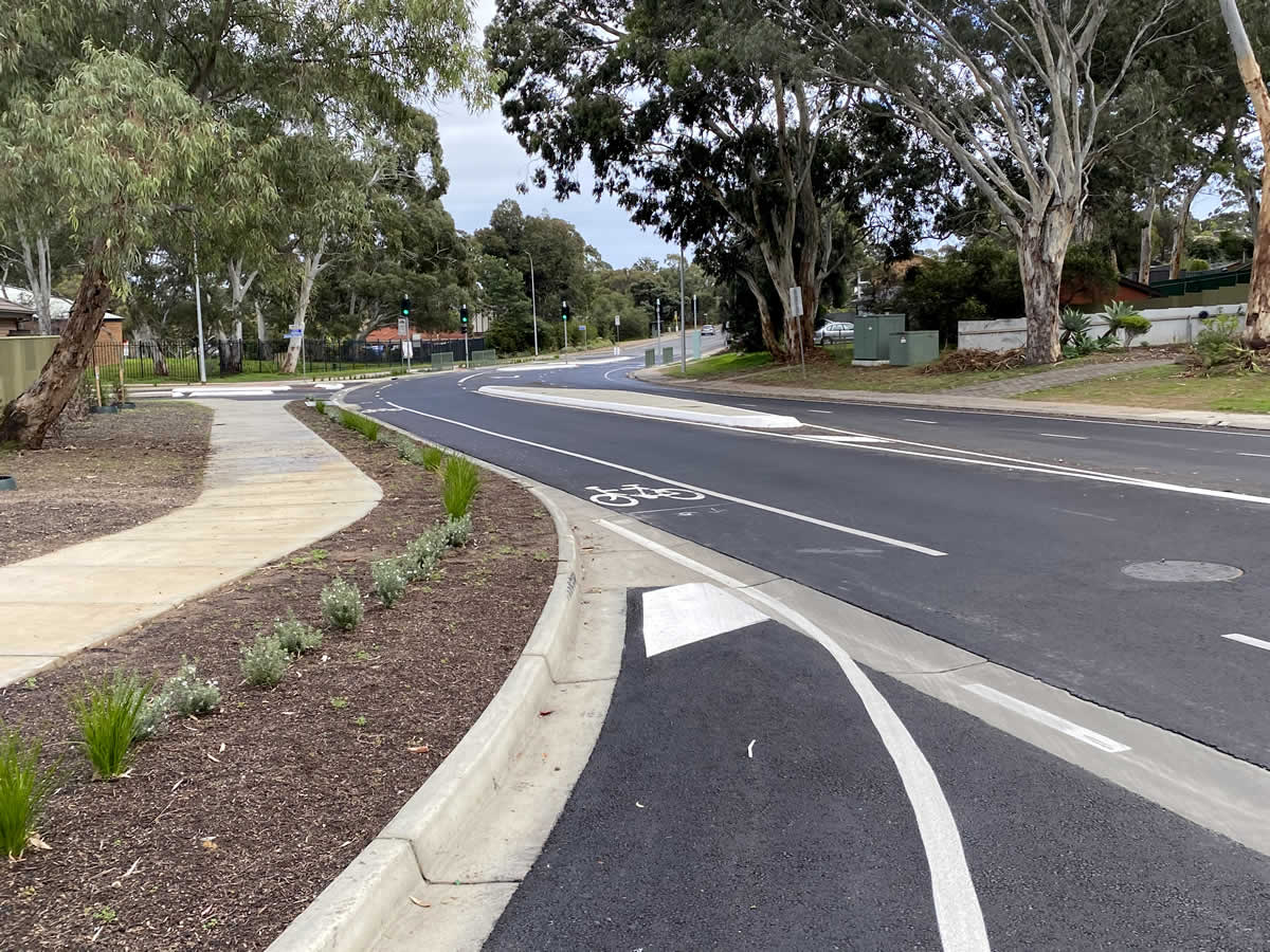 Council road intersection - asphalt works - completed