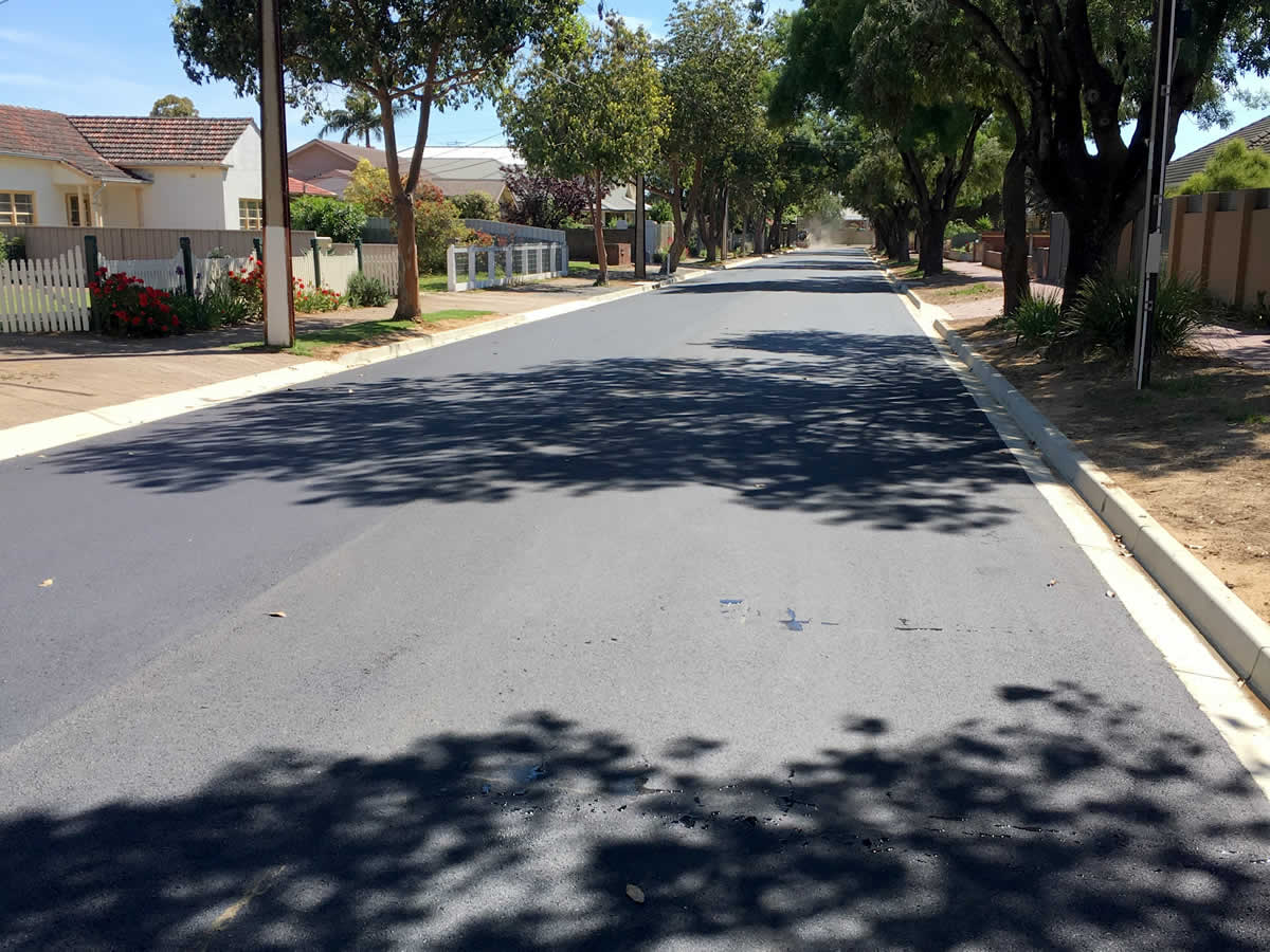 Asphalt reseal in Adelaide residential street
